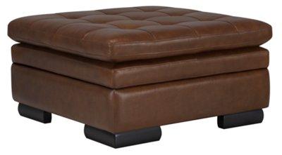 Trevor Medium Brown Leather Storage Ottoman  sc 1 st  City Furniture & trevor md brown leather storage ottoman