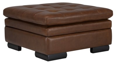 Image Of Trevor Medium Brown Leather Storage Ottoman With Sku:2710006