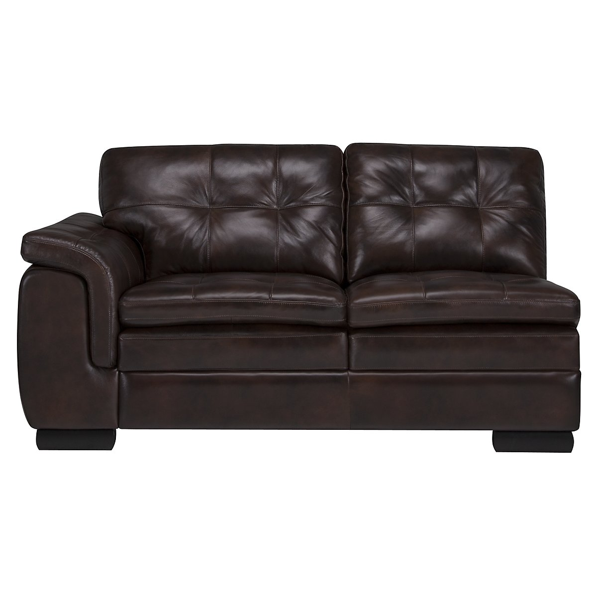 City furniture trevor dark brown leather small right for Brown leather chaise