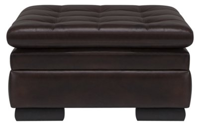 Trevor Dark Brown Leather Storage Ottoman. VIEW LARGER