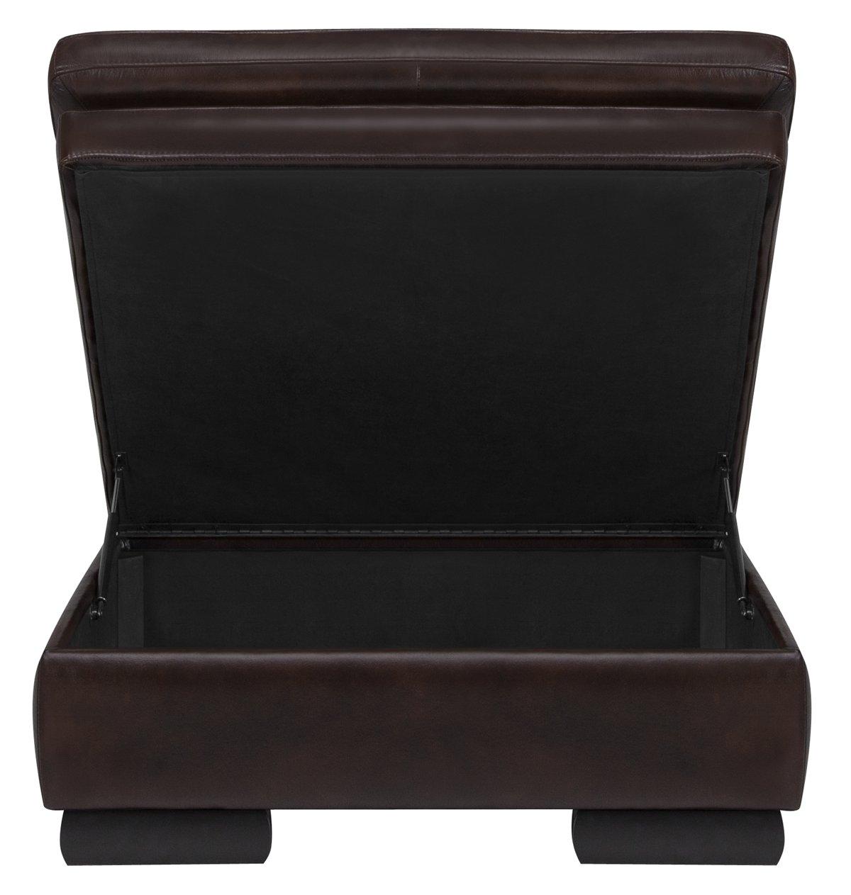 Trevor Dark Brown Leather Storage Ottoman