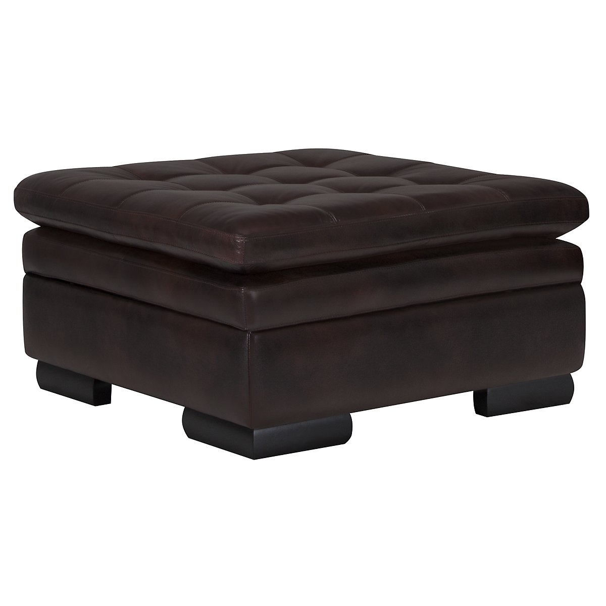 Trevor Dark Brown Leather Storage Ottoman