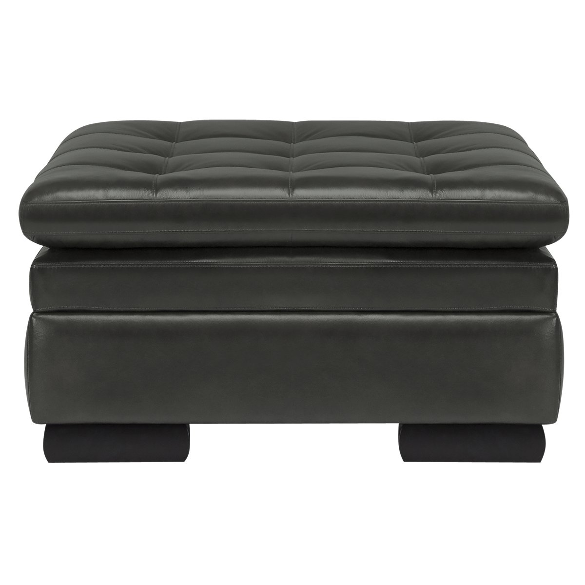 Trevor Dark Gray Leather Storage Ottoman