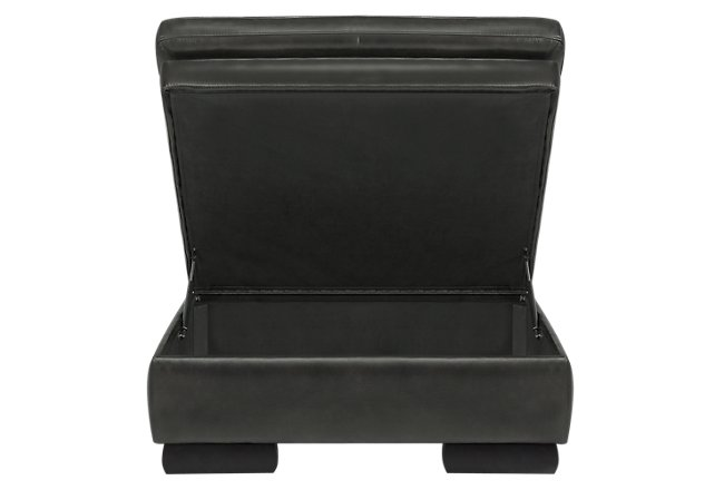 Trevor Dark Gray Leather Storage Ottoman