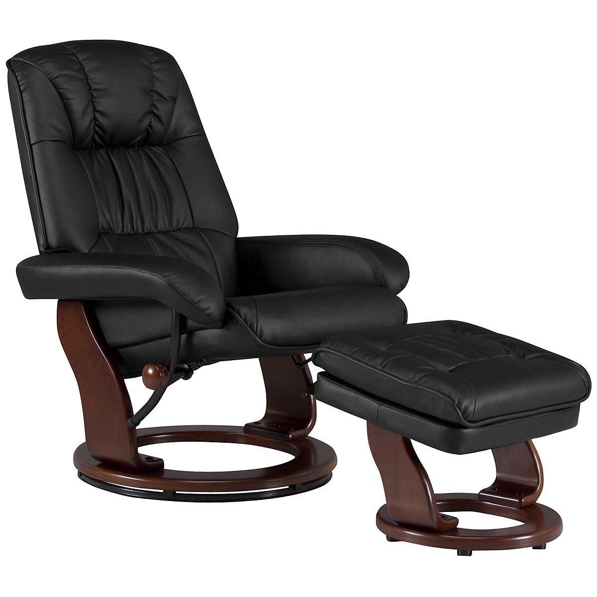 Norris Black Upholstered Recliner & Ottoman
