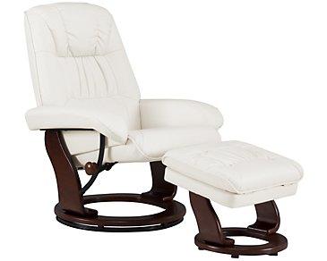 Norris White Upholstered Recliner & Ottoman