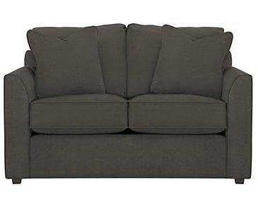 Express3 Dark Gray Microfiber Loveseat