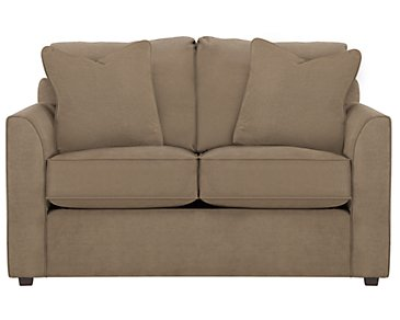 Express3 Light Brown Microfiber Loveseat