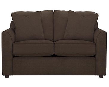 Express3 Dark Brown Microfiber Loveseat
