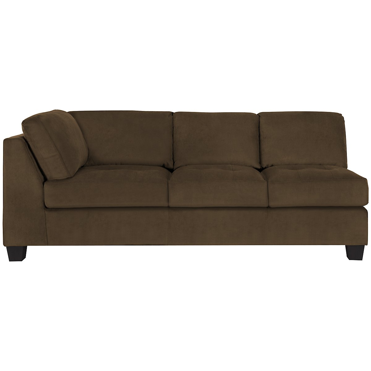 City furniture mercer2 dk brown microfiber right chaise for Brown sectional sofa with chaise