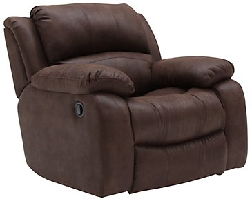 Tyler2 Dark Brown Microfiber Swivel Glider Recl
