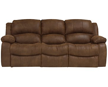 Tyler2 Medium Brown Microfiber Reclining Sofa