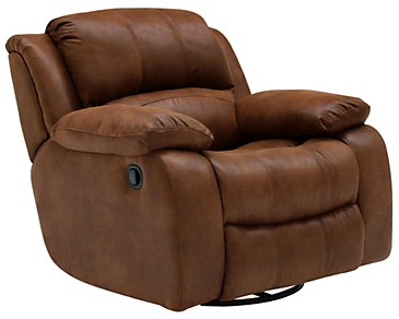 Tyler2 Medium Brown Microfiber Swivel Glider Recl