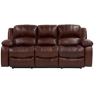 Tyler3 Medium Brown Leather & Vinyl Reclining Sofa