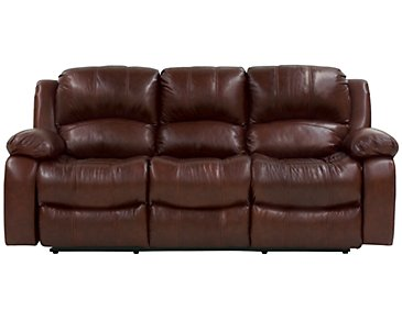 Tyler3 Medium Brown Leather & Vinyl Reclining Sofa