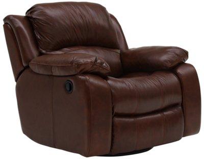 Tyler3 Medium Brown Leather & Vinyl Swivel Glider Recl