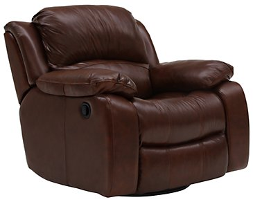 Tyler3 Medium Brown Leather & Vinyl Swivel Glider Recl