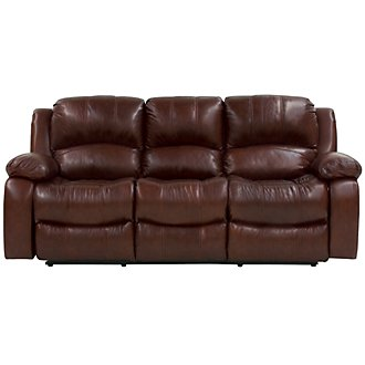 Tyler3 Medium Brown Leather & Vinyl Power Reclining Sofa