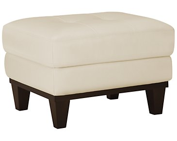 Piper Light Beige Bonded Leather Ottoman