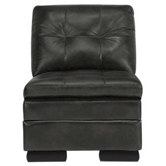Trevor Dark Gray Leather Accent Chair