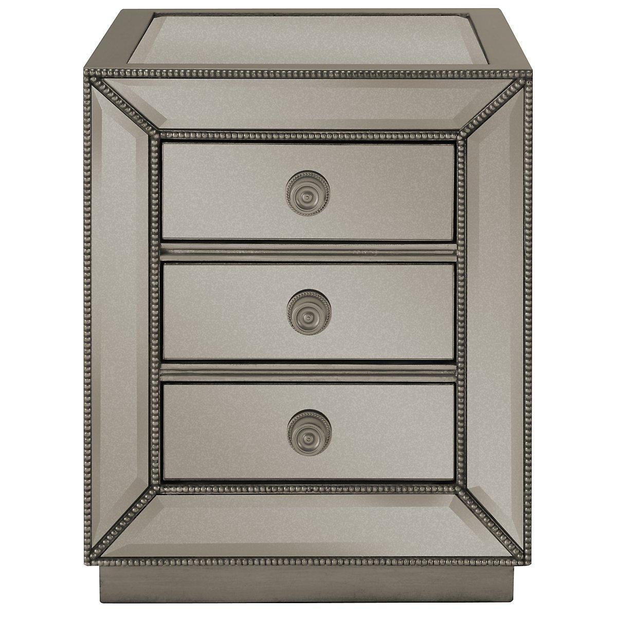 Adiva Mirrored Storage Rectangular End Table