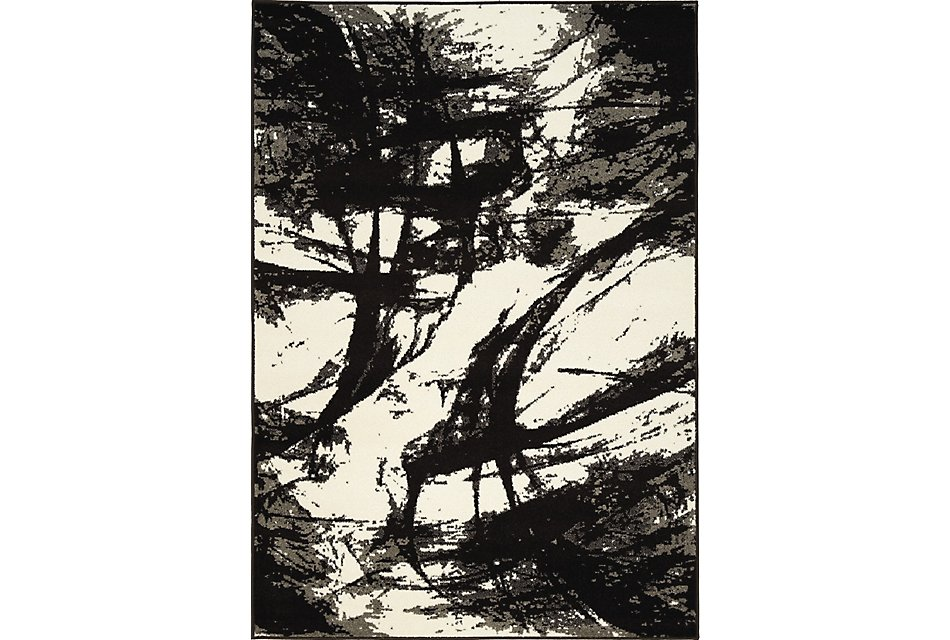 Abstract Black Poly 5x8 Area Rug
