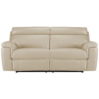 Gamma Beige Microfiber Power Reclining Sofa
