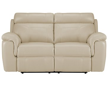 Gamma Beige Microfiber Power Reclining Loveseat