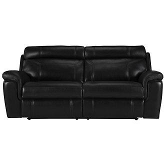 Gamma Black Microfiber Reclining Sofa