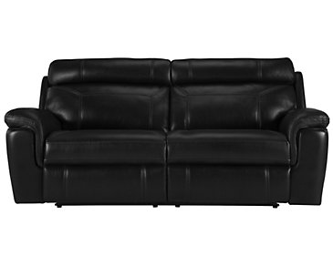Gamma Black Microfiber Power Reclining Sofa