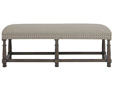 Belgian Oak Light Tone Upholstered Bench