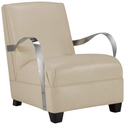 markham light beige leather accent chair