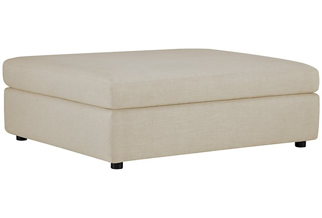Como Light Beige Fabric Ottoman