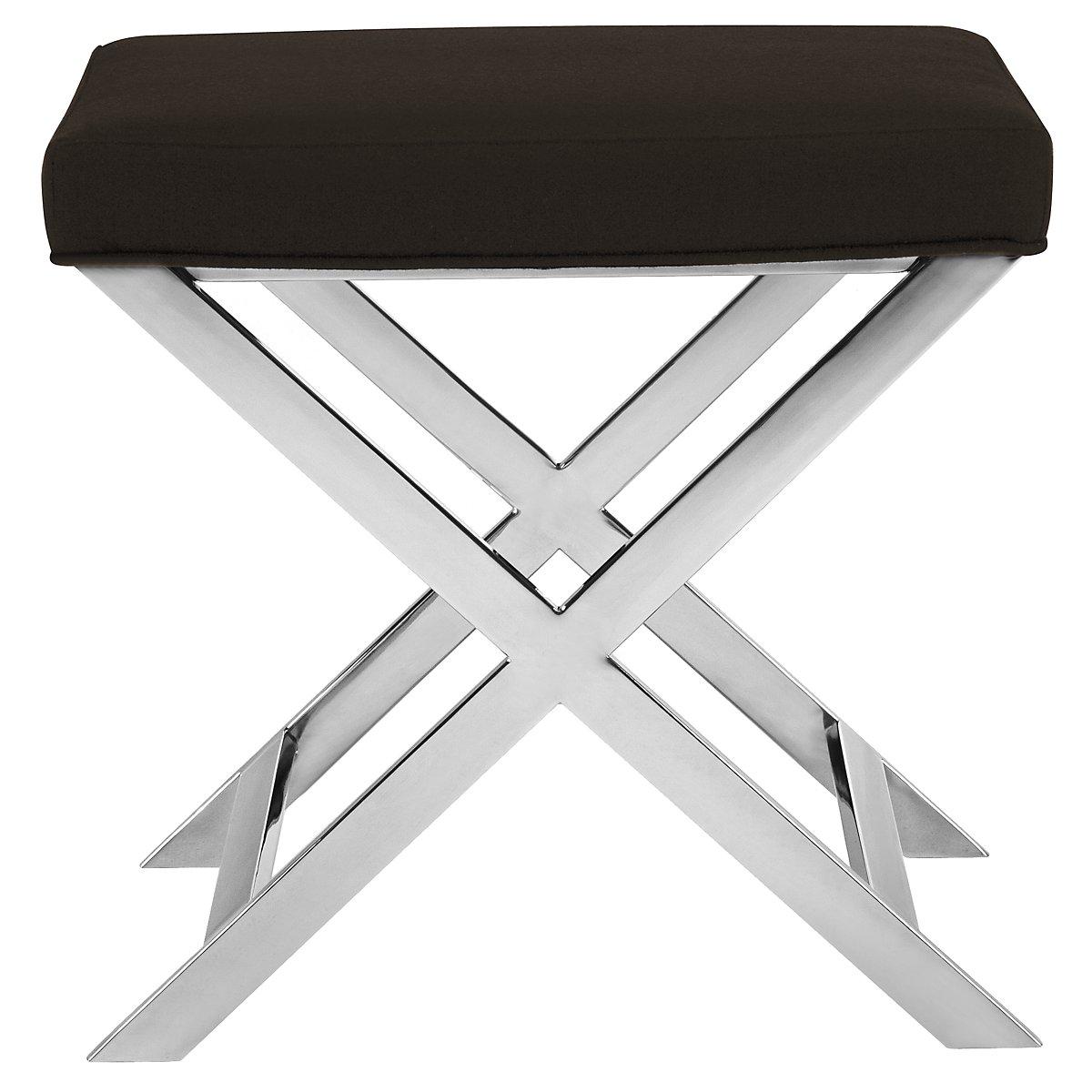 Campion Black Upholstered Stool