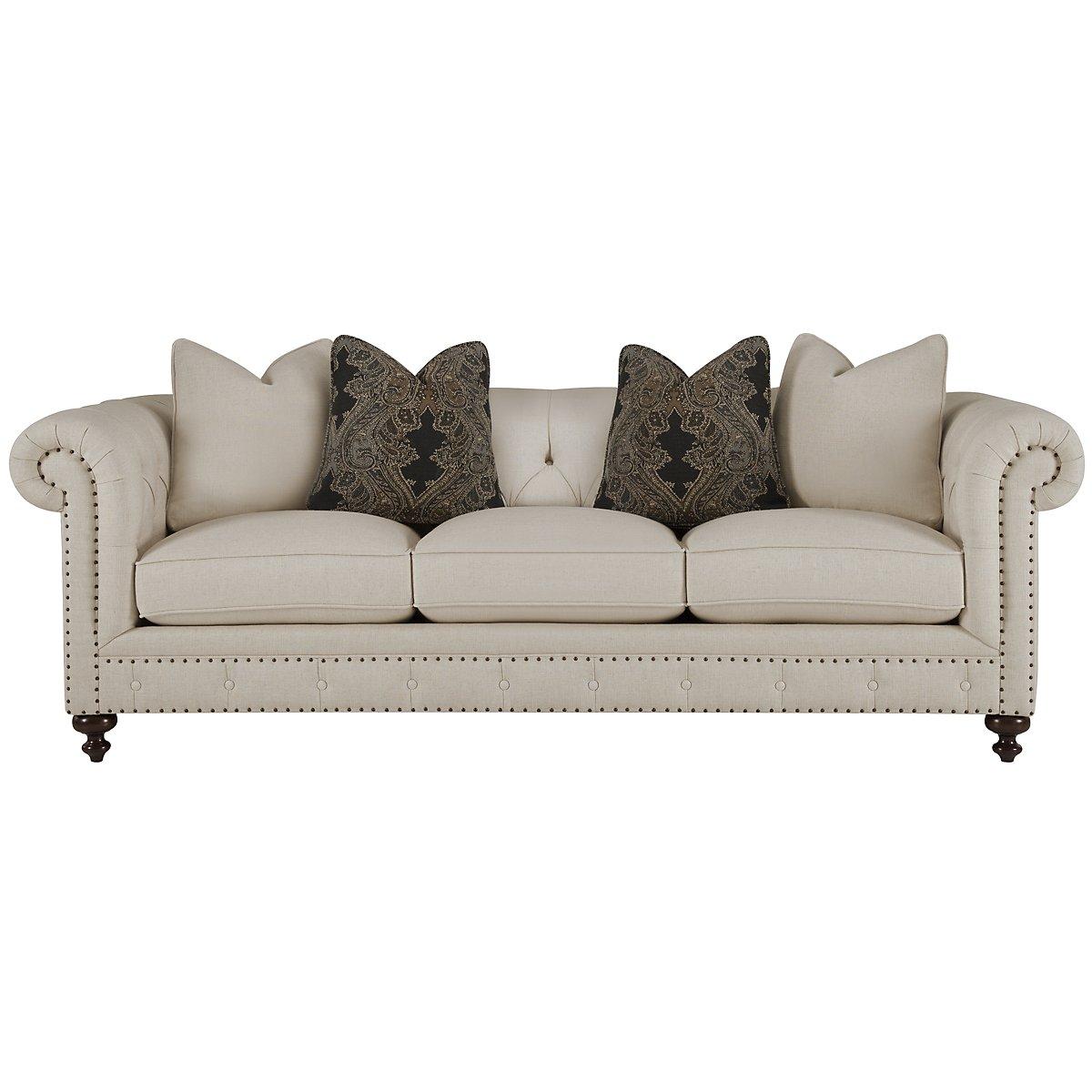Riviera Light Beige Fabric Small Sofa