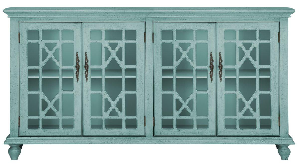 Alexis Teal Wood Four-Door Cabinet