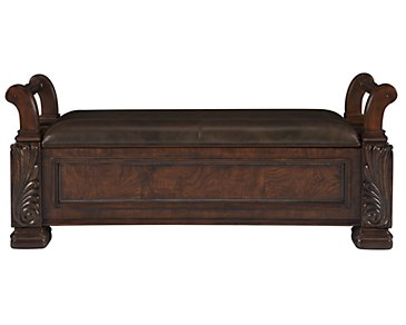 Regal Dark Tone Leather Bench