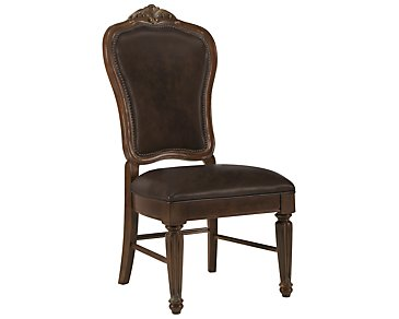 Regal Dark Tone Leather Side Chair