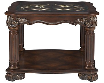 Regal Dark Tone Glass End Table