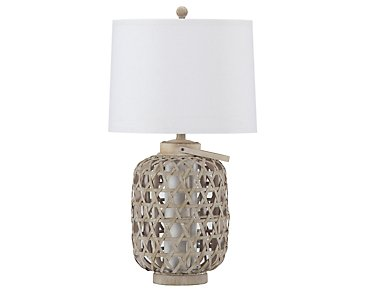 Basket Light Beige Table Lamp