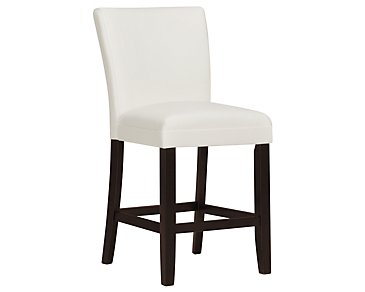 "Delano White Bonded Leather 24"" Upholstered Barstool"
