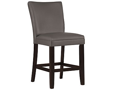 "Delano Dark Gray Bonded Leather 24"" Upholstered Barstool"