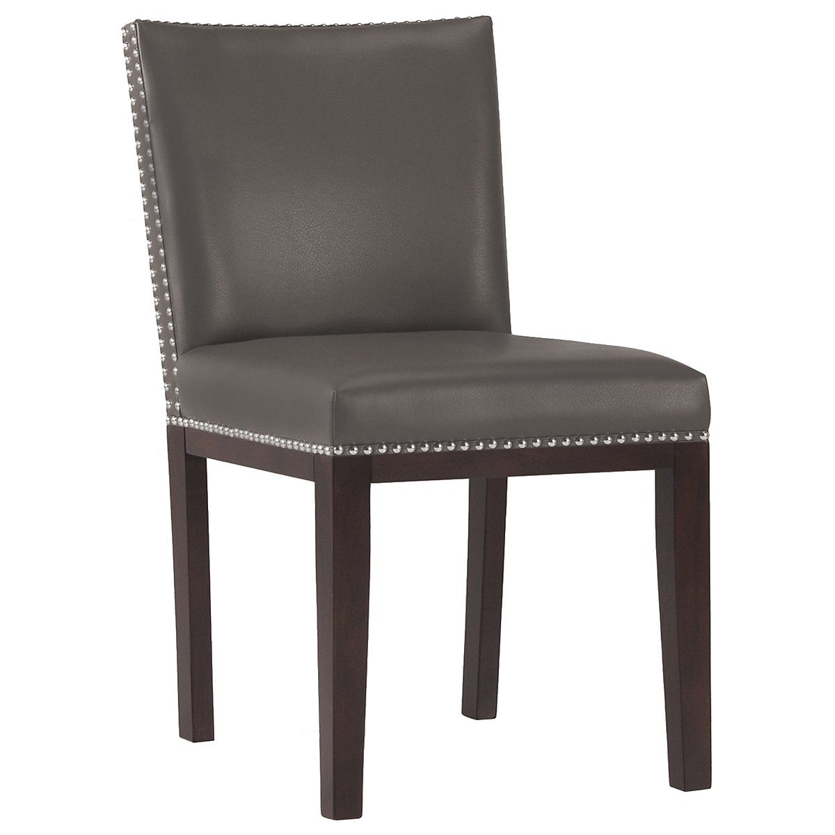Tiffany Dark Gray Bonded Leather Side Chair