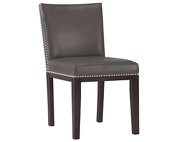 Tiffany Dark Gray Bonded Leather Side Chair