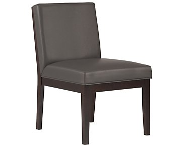 Emma Dark Gray Bonded Leather Side Chair
