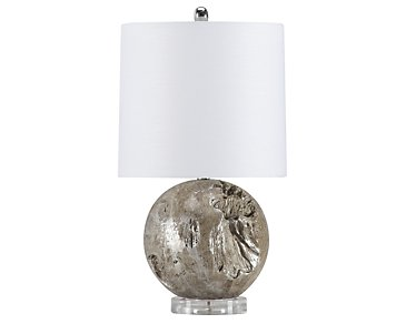 Fossil Gray Round Table Lamp