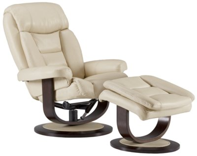 Lina Beige Microfiber Recliner u0026 Ottoman  sc 1 st  City Furniture : recliner with footstool - islam-shia.org