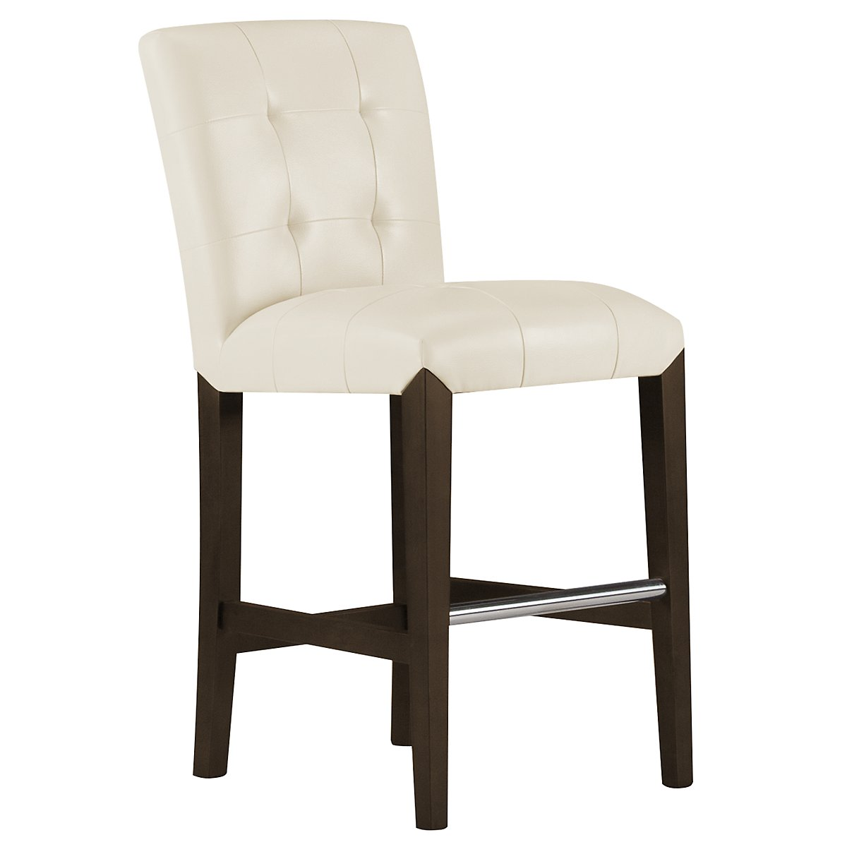 "Trisha2 Light Beige Bonded Leather 24"" Upholstered Barstool"
