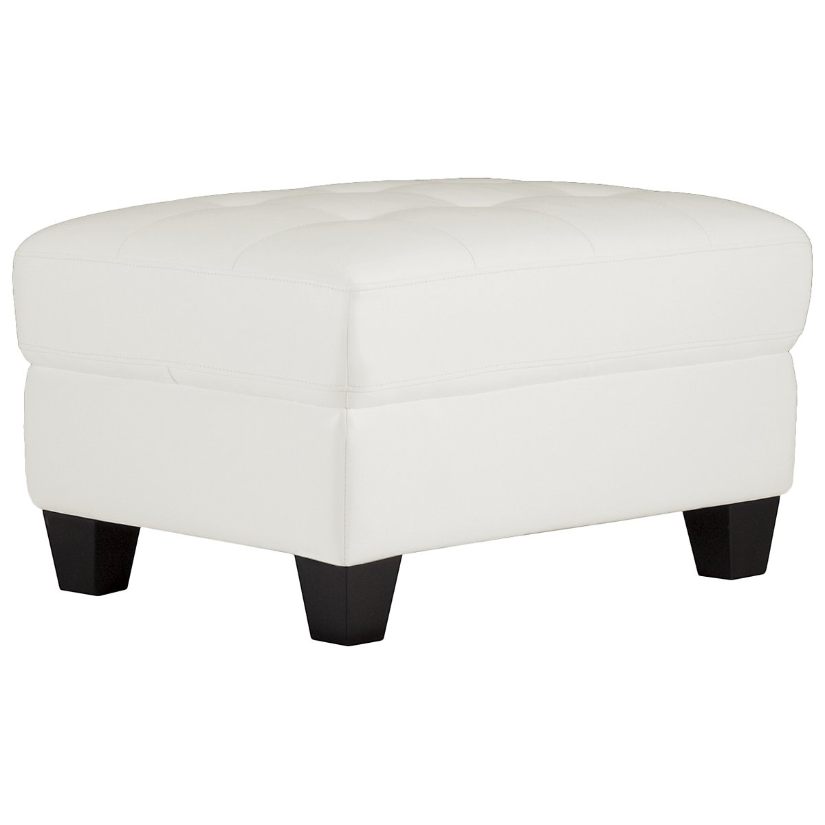 Tribeca White Bonded Leather Ottoman