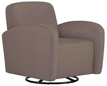 Axis Dark Taupe Vinyl Swivel Accent Chair